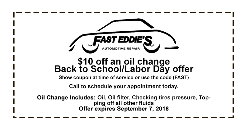Back to School/Labor Day Offer: $10 off an Oil Change
